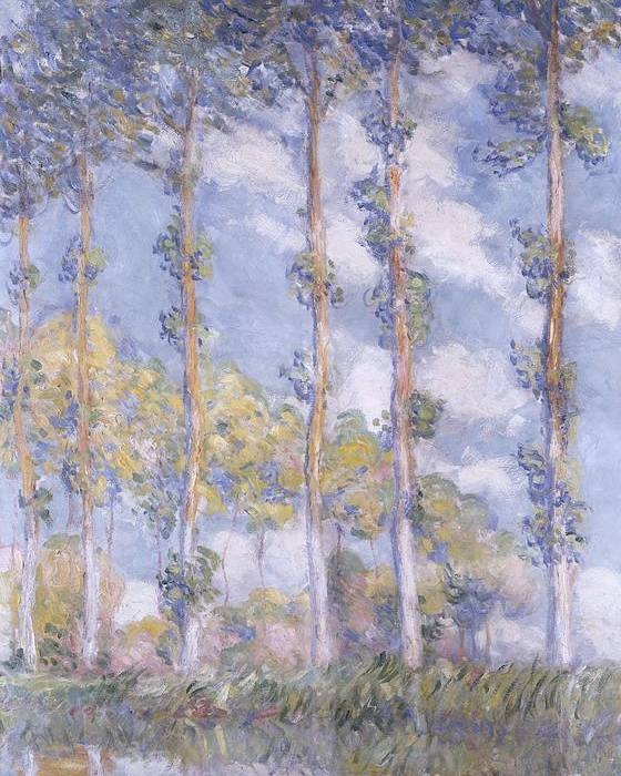 Impressionism; Impressionist; Landscape; Tree; River; Water; Reflection; Bank; The Poplars Poster featuring the painting The Poplars by Claude Monet