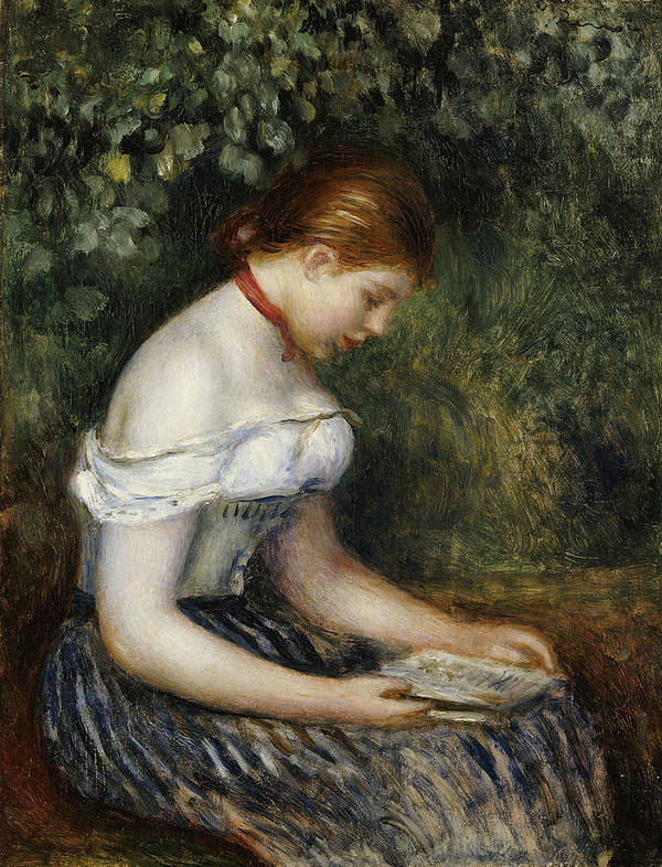 Impressionist; Impressionism; Female; Portrait; Book; Reading; Brown Hair Poster featuring the painting The Reader A Seated Young Girl by Pierre Auguste Renoir