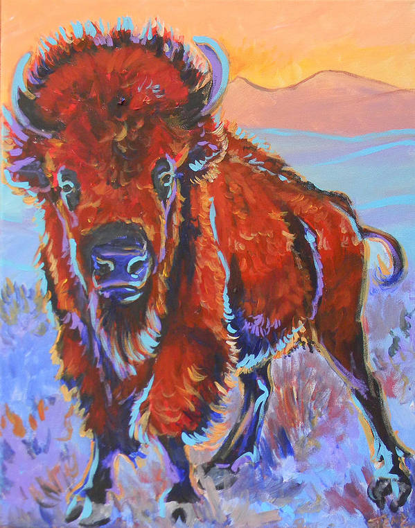 Bison Poster featuring the painting The Red King by Jenn Cunningham