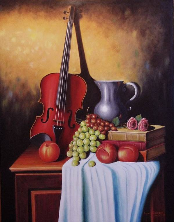 Still Life Poster featuring the painting The Red Violin by Gene Gregory