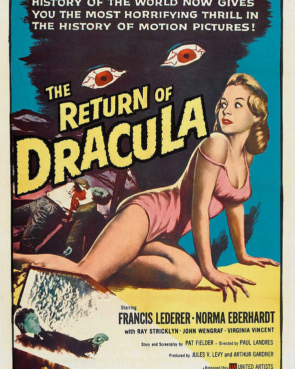 1950s Poster Art Poster featuring the photograph The Return Of Dracula, Francis Lederer by Everett