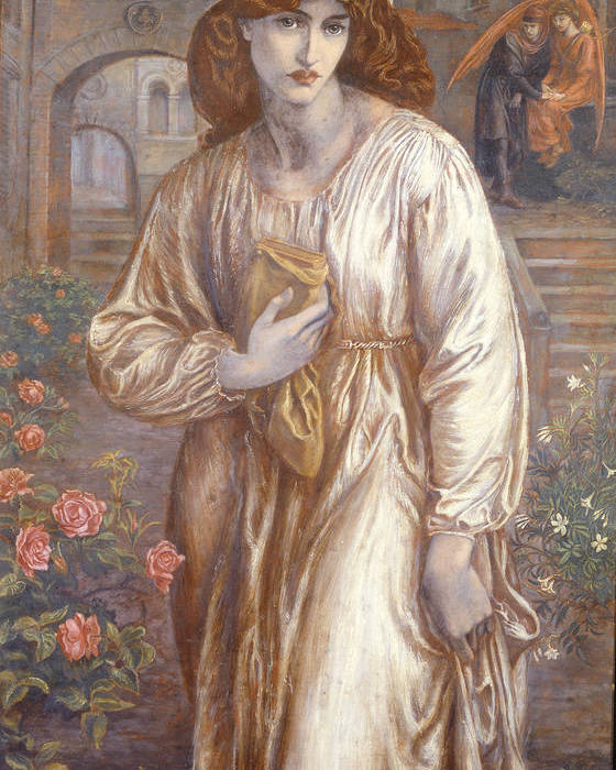 The Poster featuring the painting The Salutation by Dante Charles Gabriel Rossetti