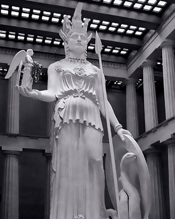 Greek Poster featuring the photograph The Statue Of Athena Bw by Linda Phelps