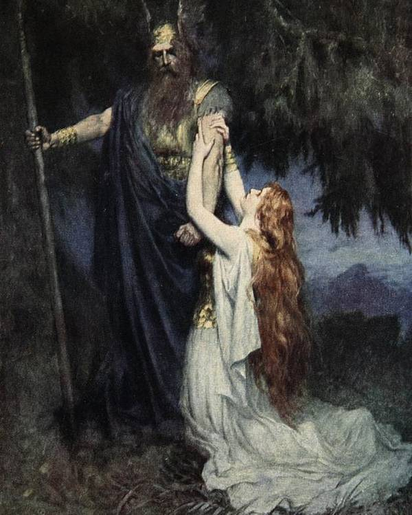 Brunhilde Knelt At His Feet Poster featuring the painting The Stories Of Wagner's Operas by J Walker McSpadden
