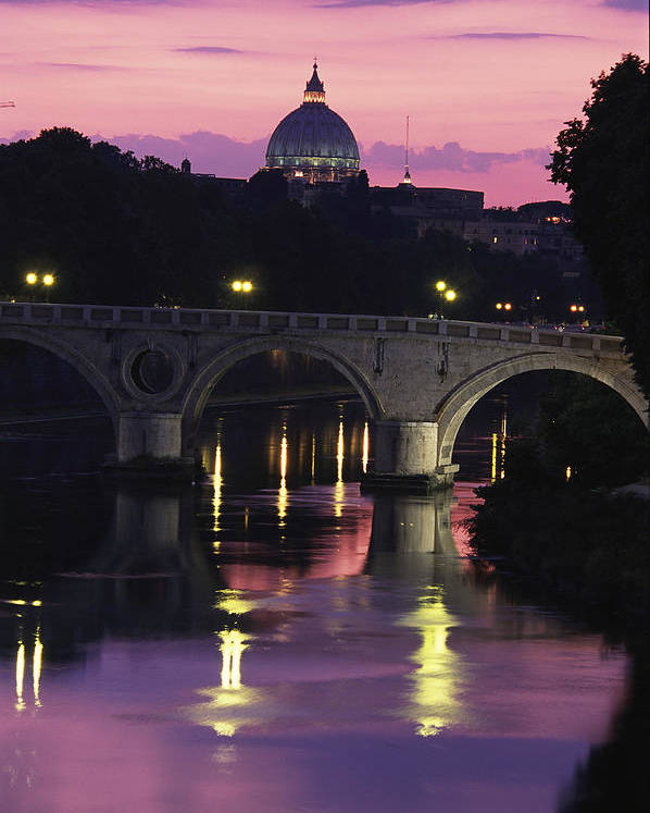 Europe Poster featuring the photograph The Tiber River And The Dome Of St by Richard Nowitz