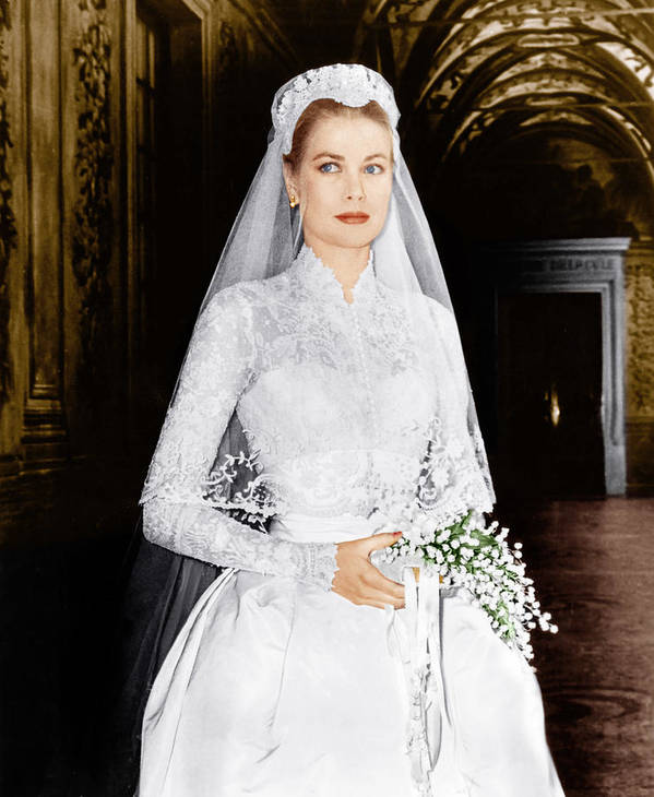 1950s Portraits Poster featuring the photograph The Wedding In Monaco, Grace Kelly, 1956 by Everett