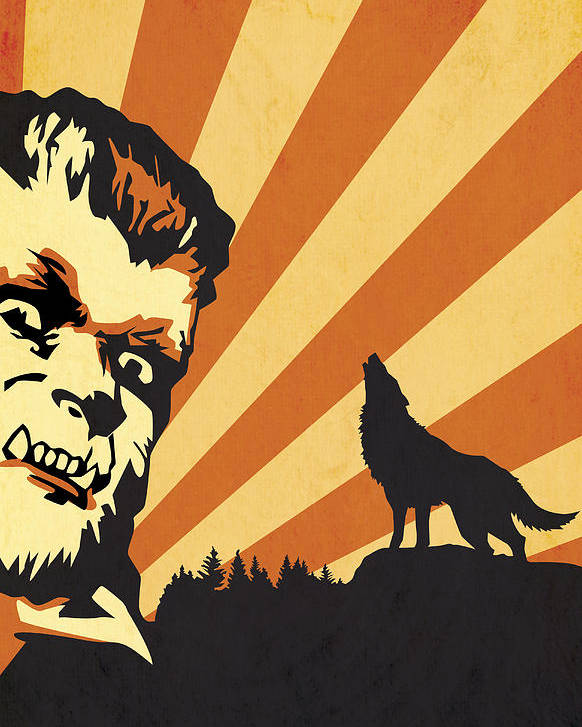 Halloween Monsters Werewolf Lycan Wolf Wolfman Horror Movies Poster featuring the digital art The Wolfman by Dave Drake