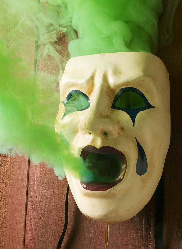 Mask Poster featuring the photograph Theater Mask Spewing Green Smoke by Garry Gay