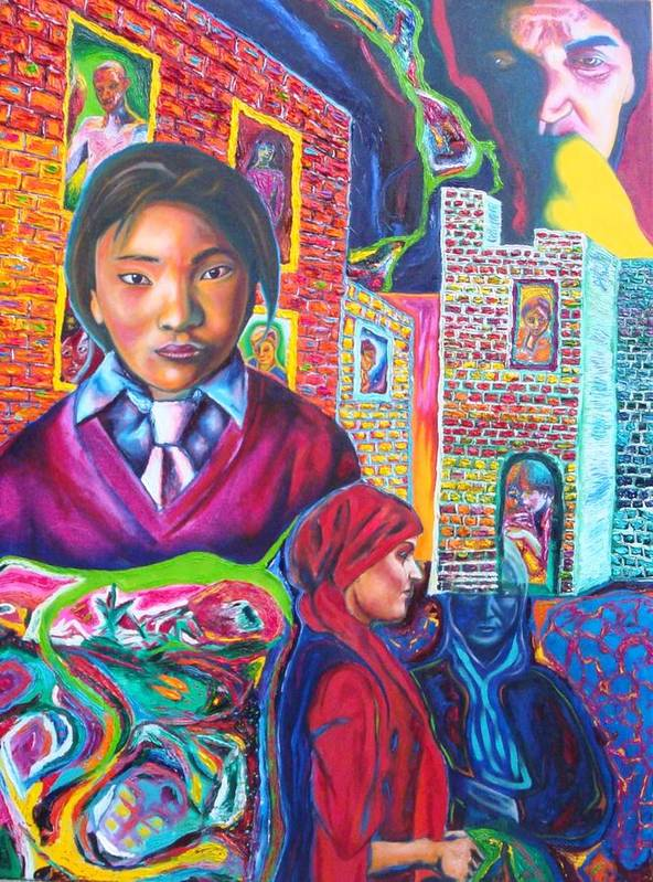 Expressive Portrait Wth Theme Poster featuring the painting Third World Women by Kennedy Paizs