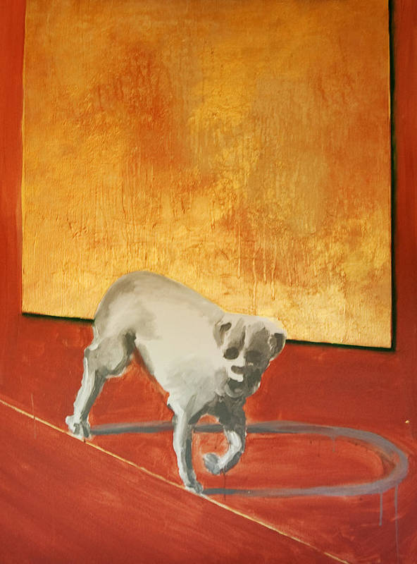 Animals Poster featuring the painting Three Legged Dog by Jea DeVoe