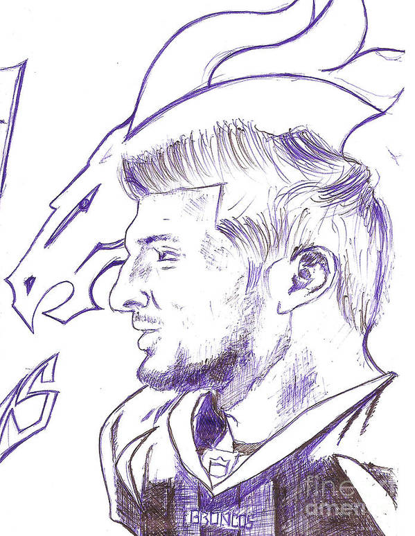 Tim Tebow Poster featuring the drawing Tim Tebow by HPrince De Artist
