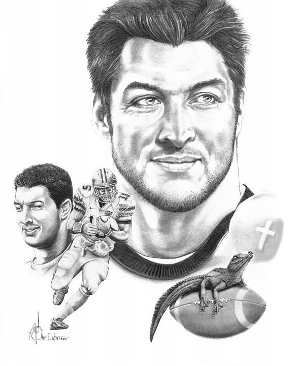 Tebow Poster featuring the drawing Tim Tebow-tim Tebow by Murphy Elliott