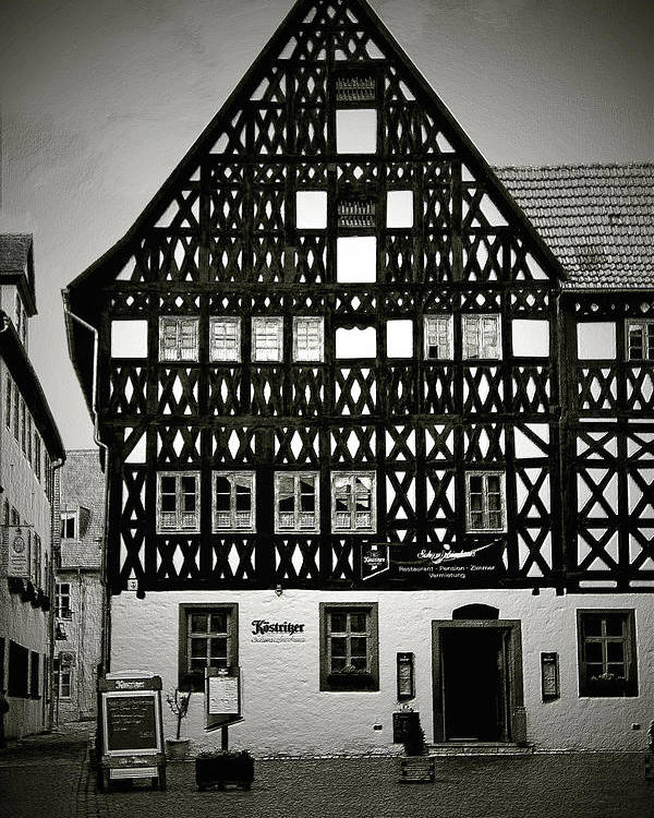 Weimar Poster featuring the photograph Timber-frame House Weimar by Christine Till