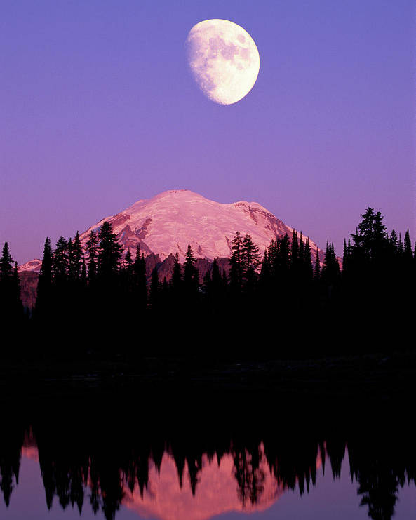 Vertical Poster featuring the photograph Tipsoo Lake And Full Moon At Mount Ranier National Park In Washington by Steve Satushek
