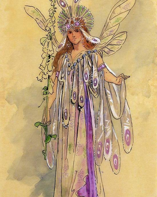 Theatrical; Clothing; Fairy; C20th; Shakespeare; Shakespearian Poster featuring the drawing Titania Queen Of The Fairies A Midsummer Night's Dream by C Wilhelm