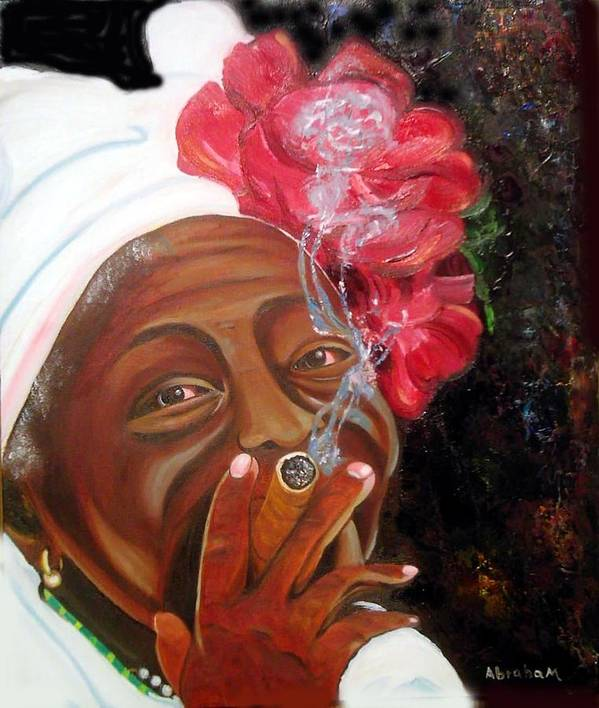 Cuban Art Poster featuring the painting Tobacco Lady by Jose Manuel Abraham