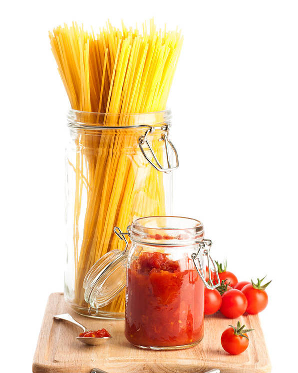 Spaghetti Poster featuring the photograph Tomatoes Sauce And Spaghetti Pasta by Amanda Elwell