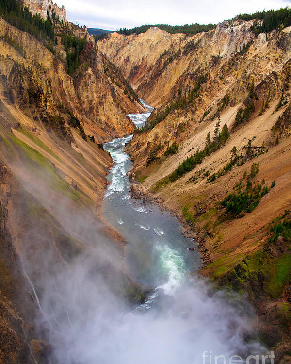 Scenic Poster featuring the photograph Top Of Lower Falls by Robert Bales