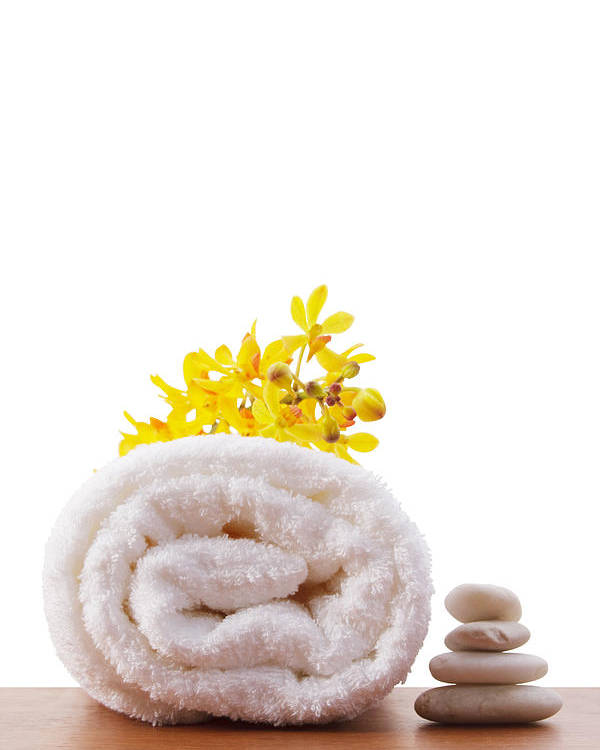 Spa-treatment Poster featuring the photograph Towel Roll by Atiketta Sangasaeng