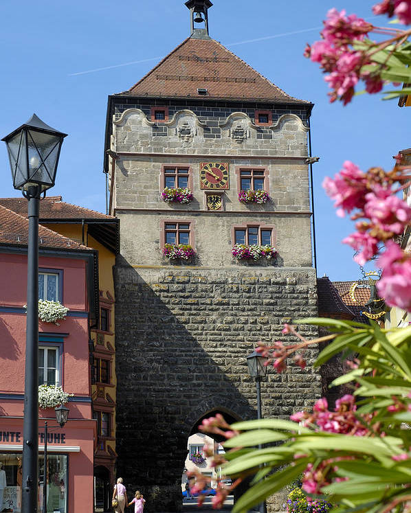 Rottweil Poster featuring the photograph Tower In Old Town Rottweil Germany by Matthias Hauser