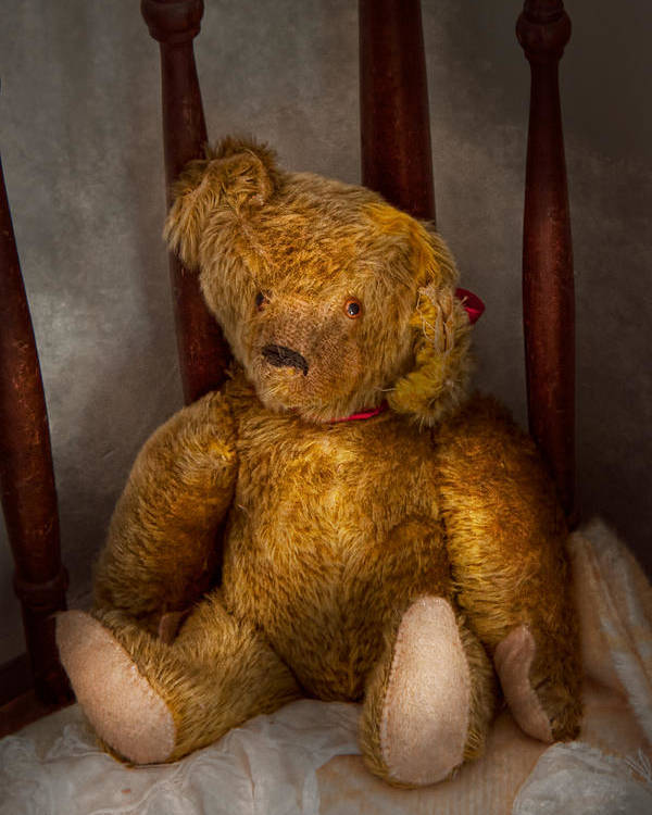 Children Poster featuring the photograph Toy - Teddy Bear - My Teddy Bear by Mike Savad