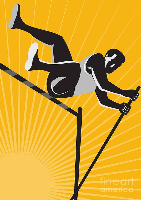 Athlete Poster featuring the digital art Track And Field Athlete Pole Vault High Jump Retro by Aloysius Patrimonio