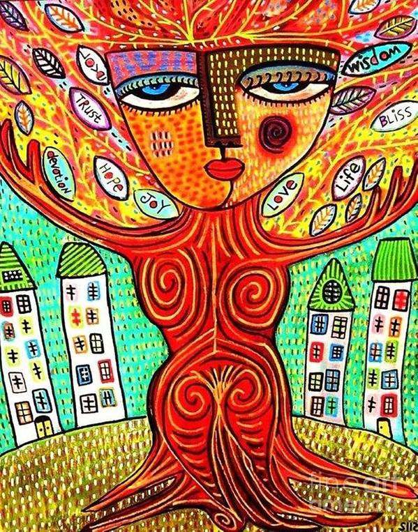 Women Poster featuring the painting Tree Blessing Goddess by Sandra Silberzweig