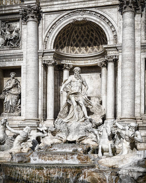 Ancient Poster featuring the photograph Trevi Fountain Detail by Joan Carroll