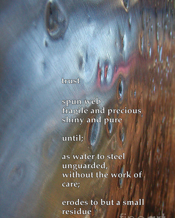 Poem Poster featuring the photograph Trust by Richard Donin