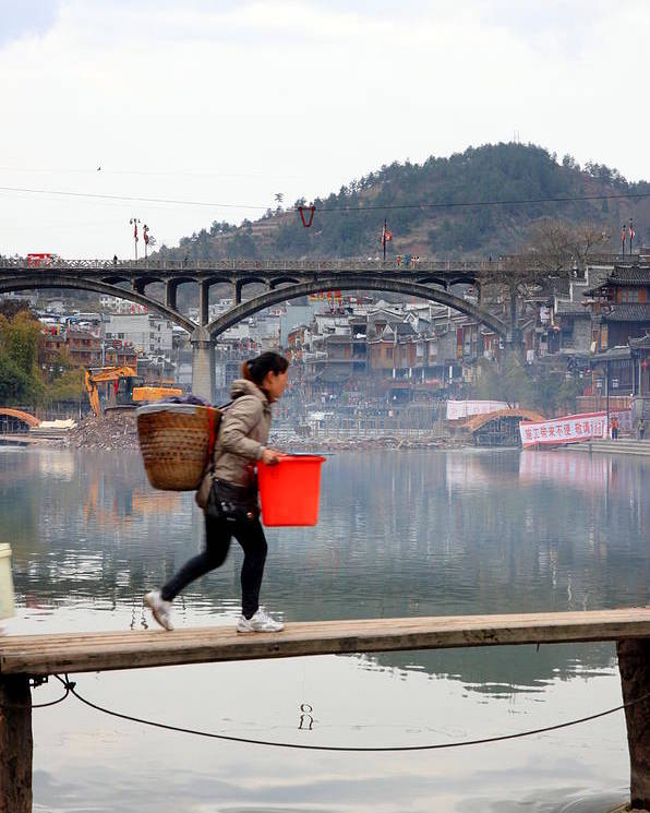 Town Poster featuring the photograph Tuojiang River In Fenghuang by Valentino Visentini