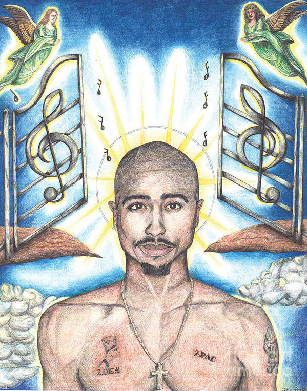 Tupac Poster featuring the drawing Tupac In Heaven by Debbie DeWitt
