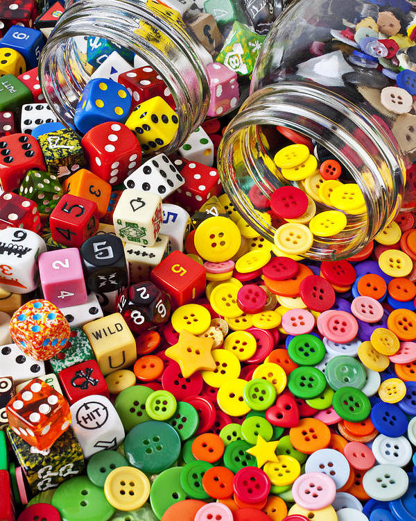Jar Dice Games Play Numbers Gamble Poster featuring the photograph Two Jars Dice And Buttons by Garry Gay