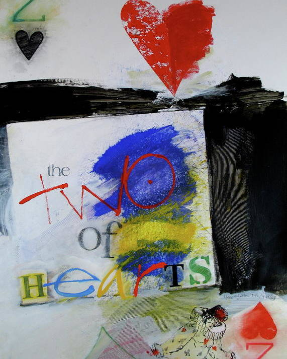 Acrylic Poster featuring the mixed media Two Of Hearts 37-52 by Cliff Spohn