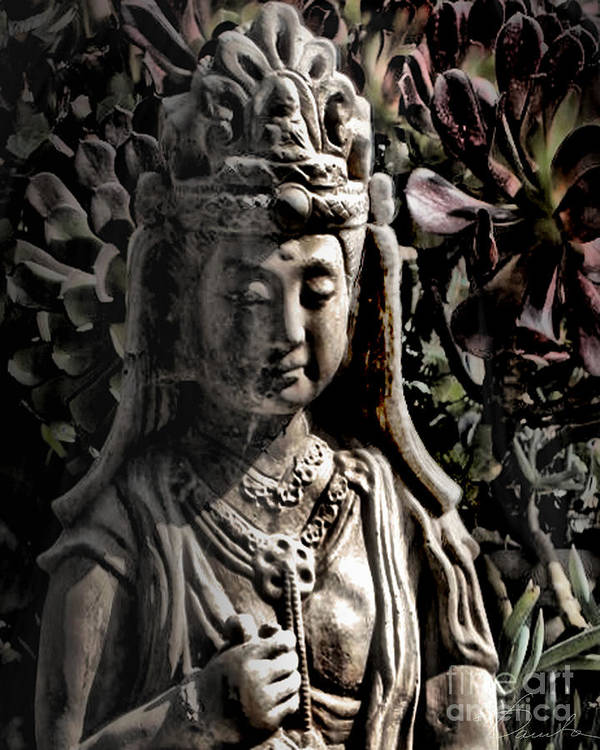 Buddhism Poster featuring the photograph Two Sides Of Buddha by Danuta Bennett