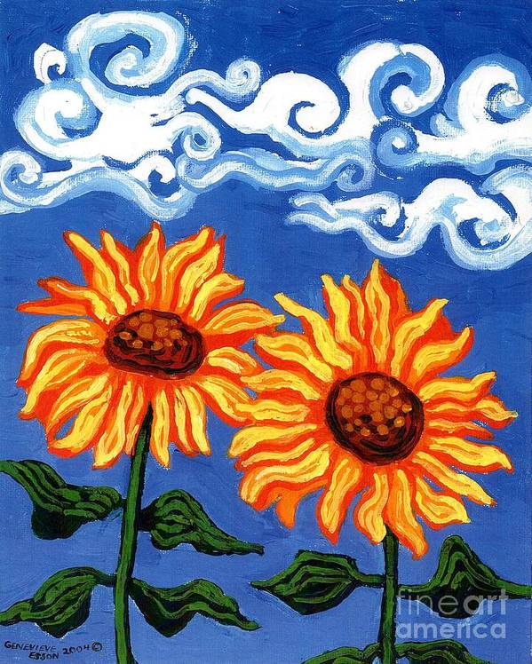 Sunflower Poster featuring the painting Two Sunflowers by Genevieve Esson