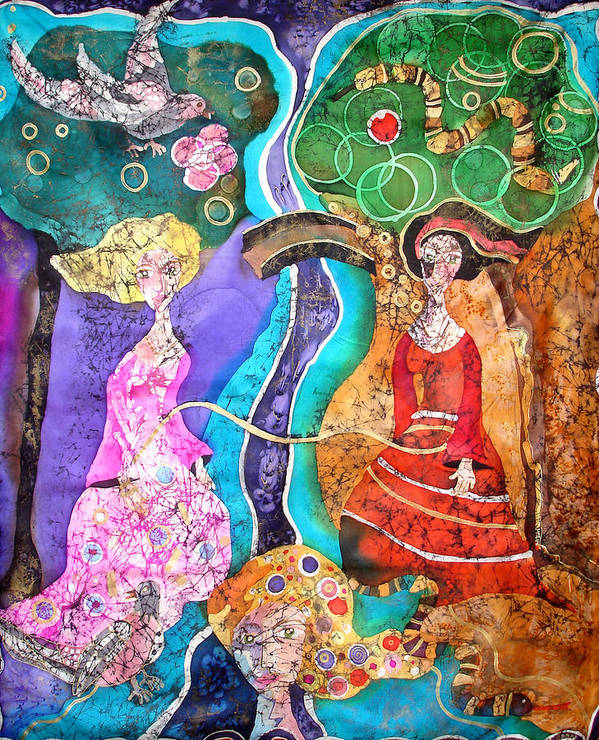 Batik Poster featuring the tapestry - textile Two Women by Sandra Kern