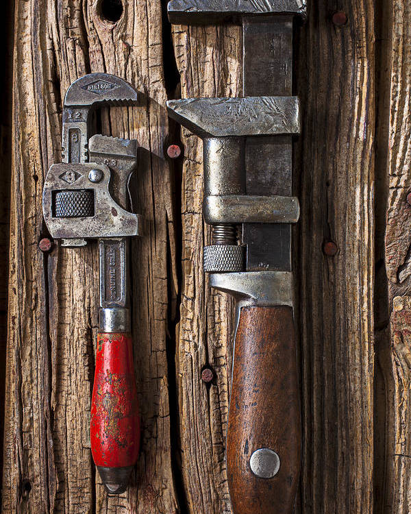 Two Wrenches Poster featuring the photograph Two Wrenches by Garry Gay