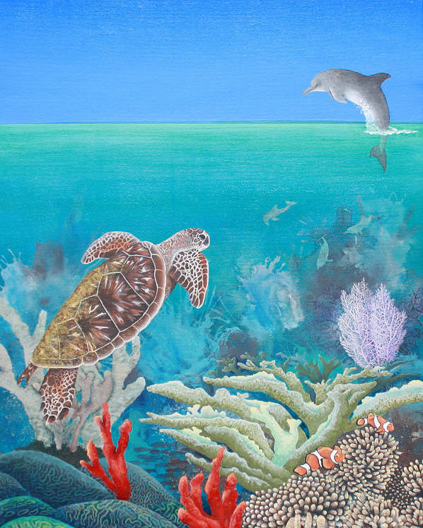 Underwater Poster featuring the painting Underwater Glory by Grace Ashcraft