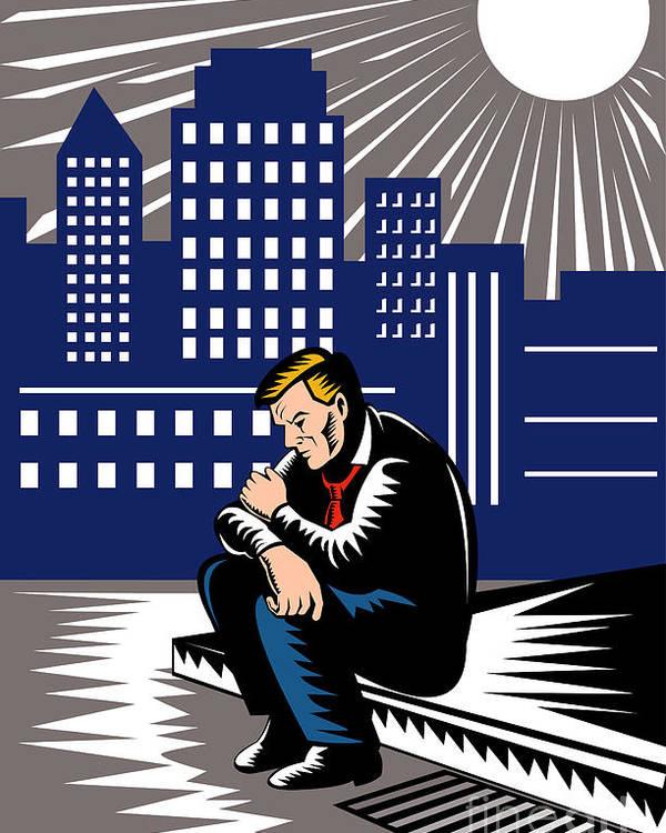 Illustration Poster featuring the digital art Unemployed Male Worker Sidewalk by Aloysius Patrimonio