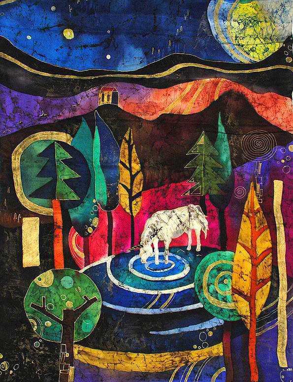 Batik Poster featuring the tapestry - textile Unicorn by Sandra Kern