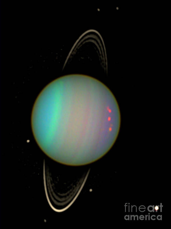 Science Poster featuring the photograph Uranus With Moons by Nasa