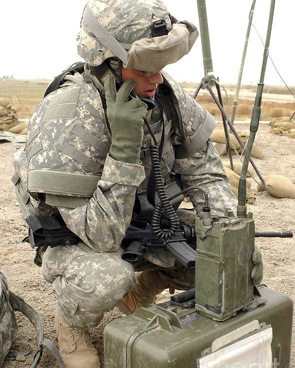 Box Poster featuring the photograph U.s. Army Soldier Performs A Radio by Stocktrek Images