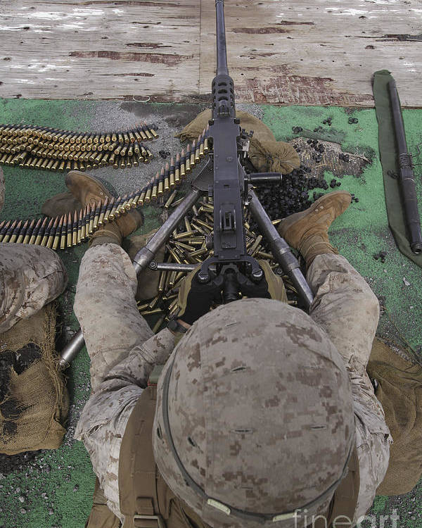 Us Marine Corps Poster featuring the photograph U.s. Marine Fires An M2 .50-caliber by Stocktrek Images