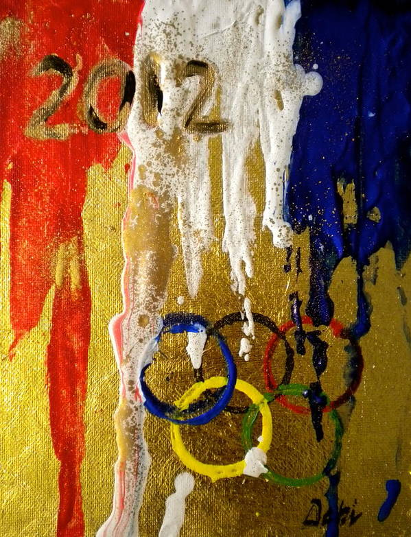 2012 Poster featuring the painting Usa Strives For The Gold by Debi Starr