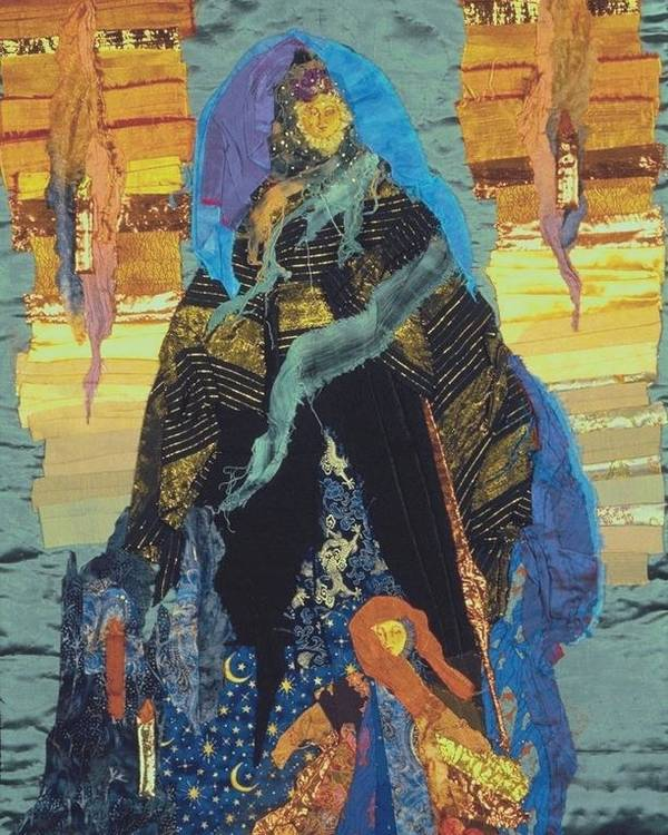 Quilt Poster featuring the tapestry - textile Veiled Woman With Spirit Child by Roberta Baker