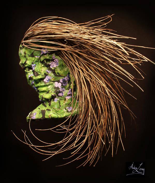 Art; Sculpture; Adam Long; Female; Woman; Girl; Figure; Nature; Natural; Environmental; Environment; Grow; Growth; Flower; Flowers Poster featuring the sculpture Verdant by Adam Long