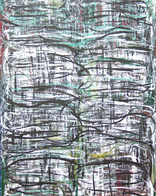 Abstract Lines Poster featuring the painting Vertical White Lines And Horizontal Black Lines by Kazuya Akimoto