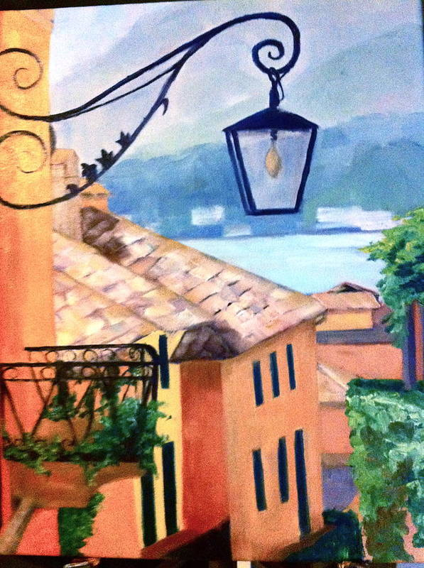Painting Poster featuring the painting View To Lake Como by Linda Scott