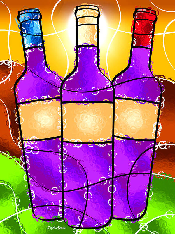 Vino Poster featuring the digital art Vino by Stephen Younts