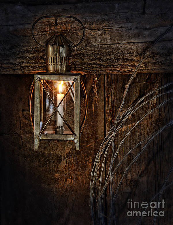 Lantern Poster featuring the photograph Vintage Lantern Hung In A Barn by Jill Battaglia